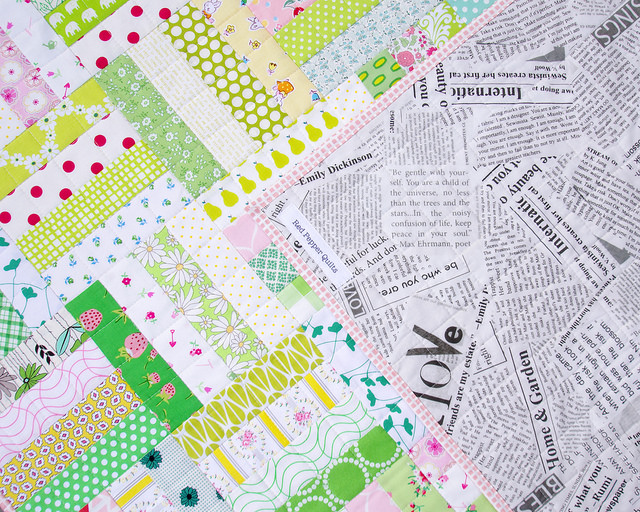 Pink Lemonade - backing fabric | A Finished Quilt | Red Pepper Quilts 2015