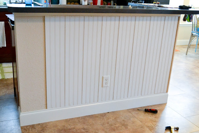 How to add beadboard to island 2015 home design ideas for Add beadboard to kitchen cabinets