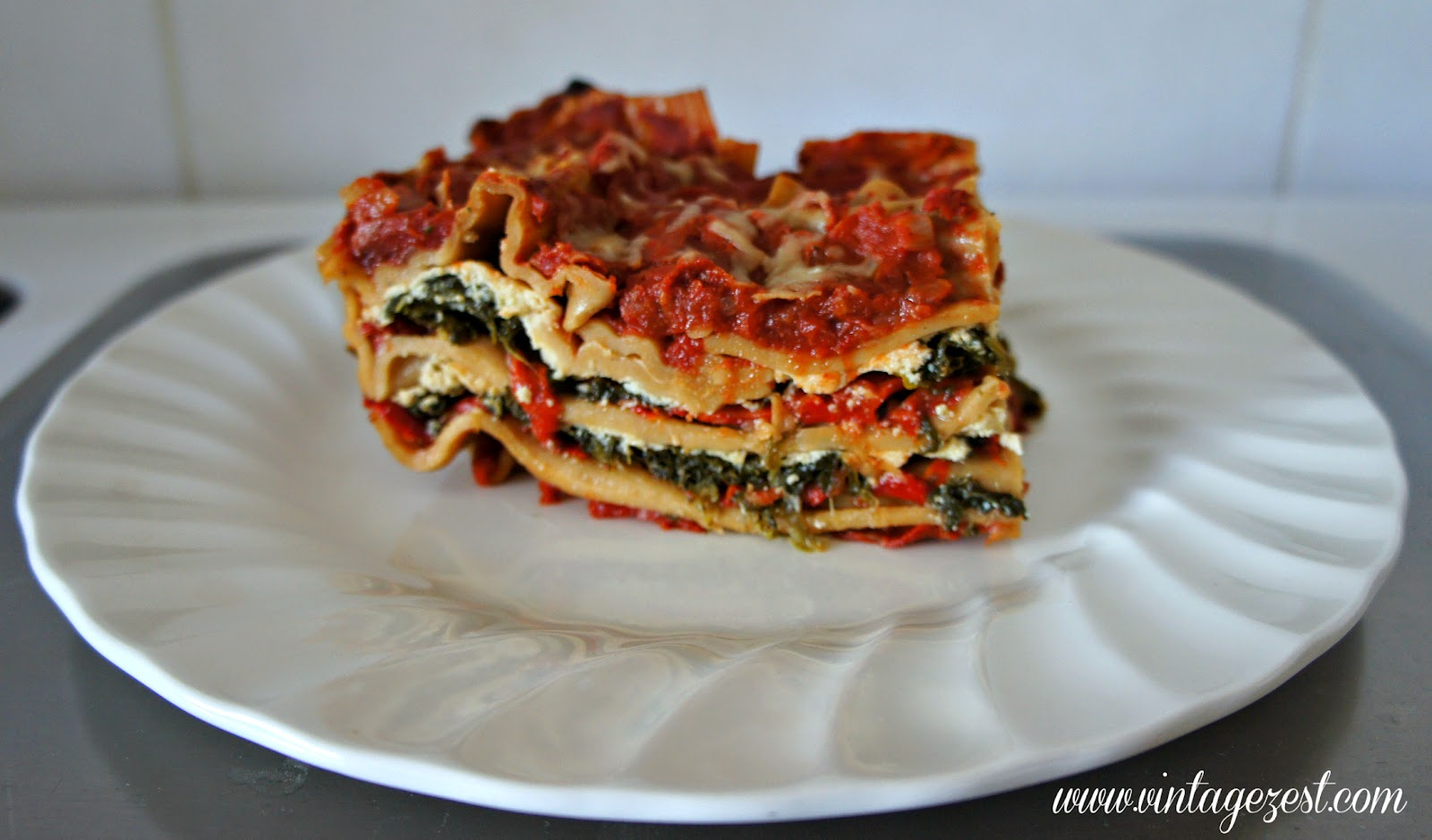 Spinach & Roasted Red Pepper Lasagna on Diane's Vintage Zest!