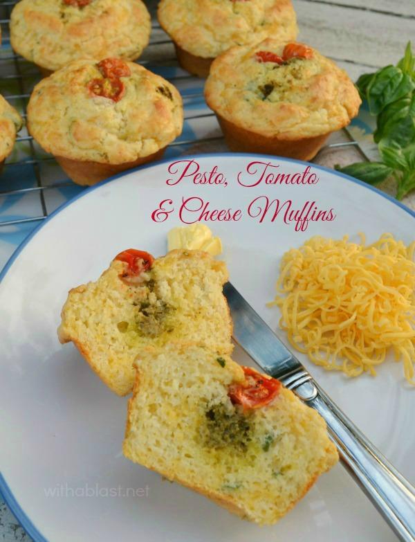 Pesto Tomato and Cheese Muffins