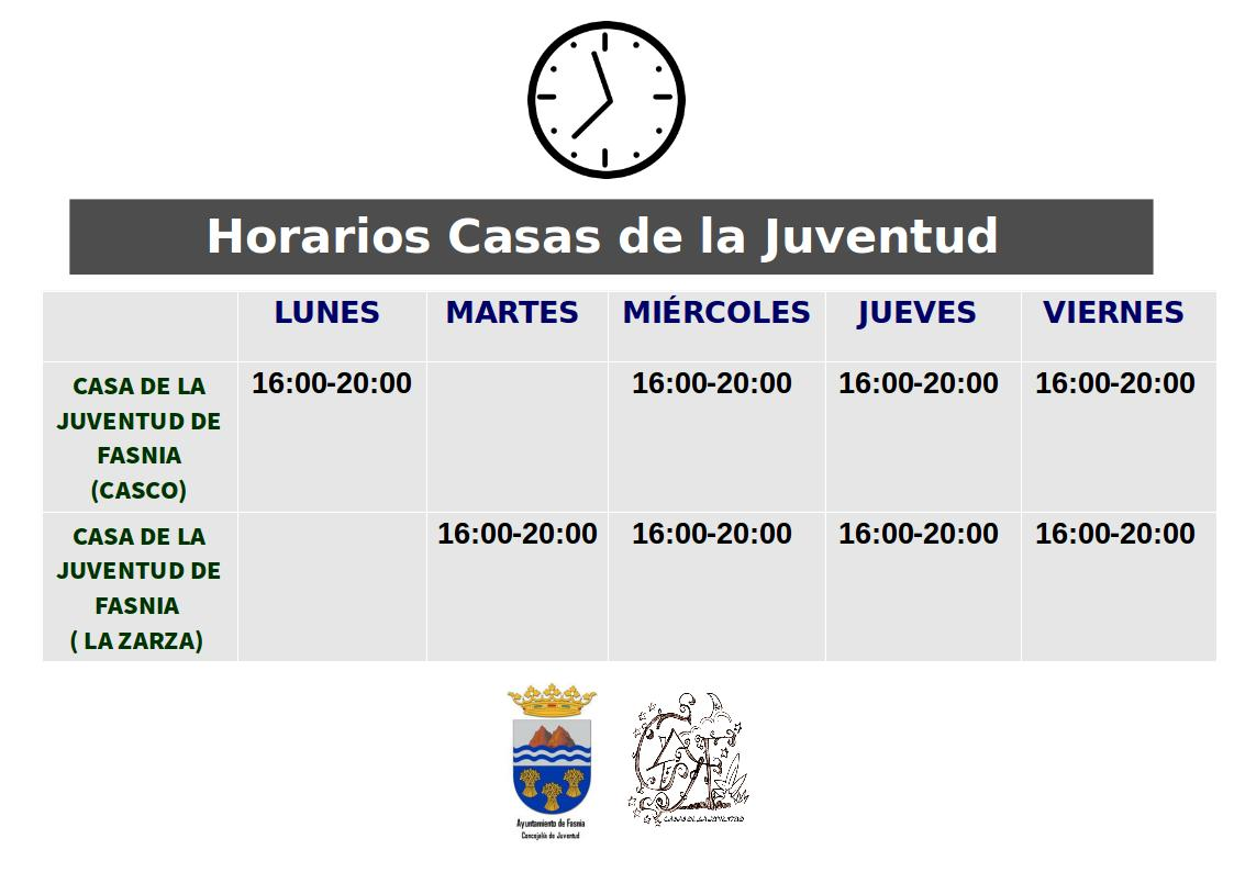 HORARIOS CASAS DE LA JUVENTUD