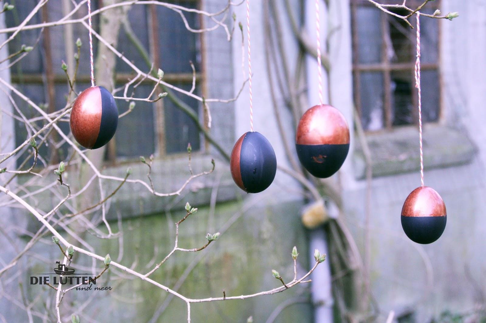 DIY Ostereier in Kupfer und mit Tafellack