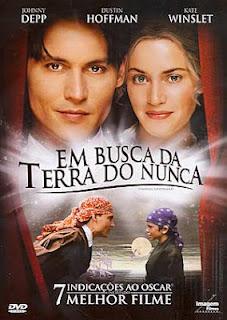 Capa do filme estadunidense Em busca da Terra do Nunca, com Johnny Depp e Kate Winslet
