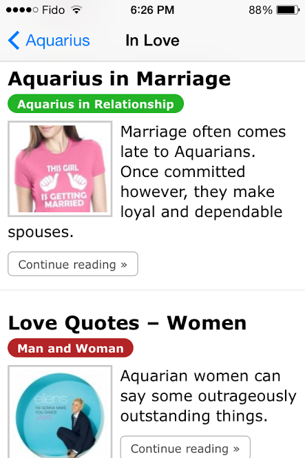 Aquarius in Love - an app for the iPhone