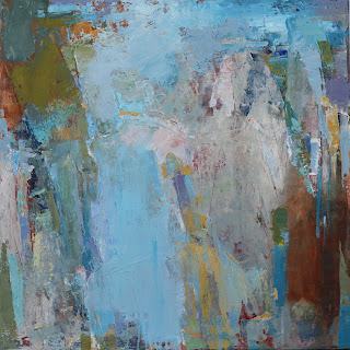 Abstract painting by artist Karri Allrich in rich, textured layers of paint and glaze. Meditative, lyrical, peaceful sea blues, colors of wet stone and sand, mossy green, foam, sky.