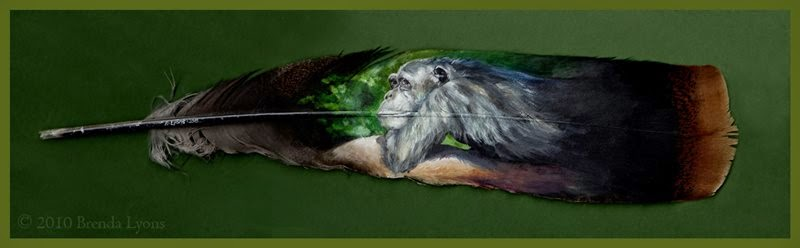 Animal Portraits Painted on Wild Turkey Feathers | Painted Feathers, Brenda Lyons