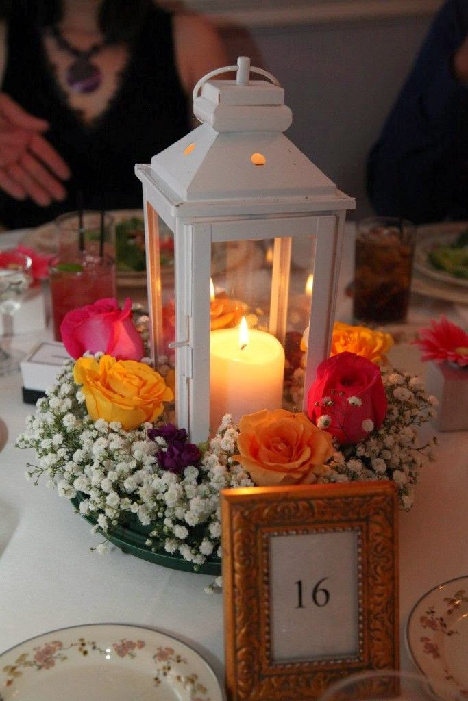 fall wedding lantern centerpiece
