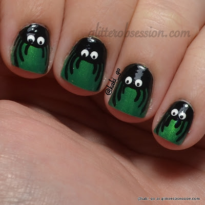 Halloween Nail Art Challenge: Spiders (with top coat)