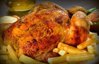 Pollo a la brasa relleno de tacu tacu