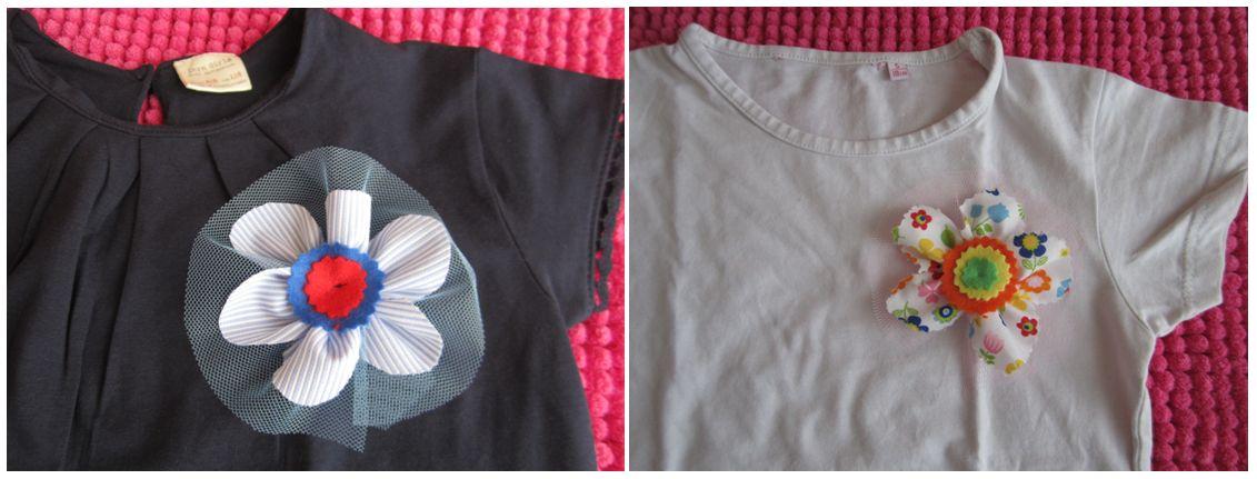 mis nancys, mis peques y yo, tutorial facil DIY flor de tul colores camisetas