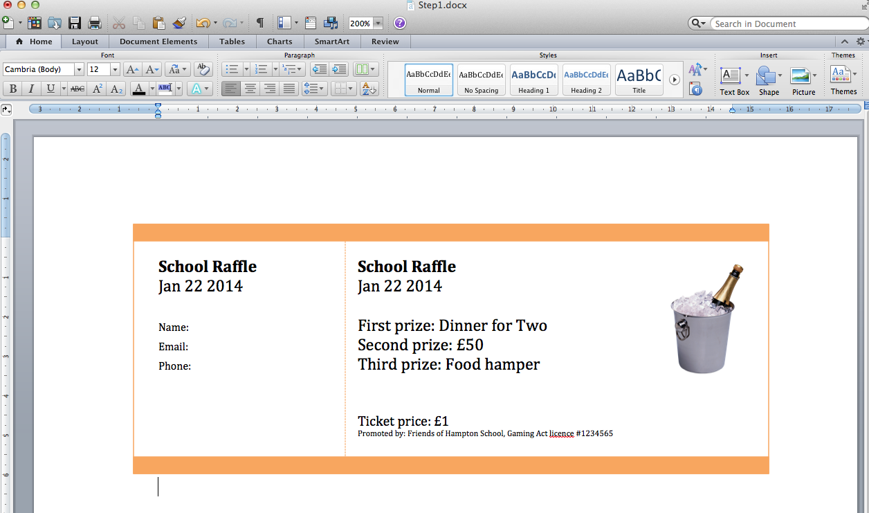 how to number raffle tickets in word