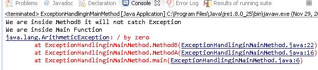 Main method handles Exception in java
