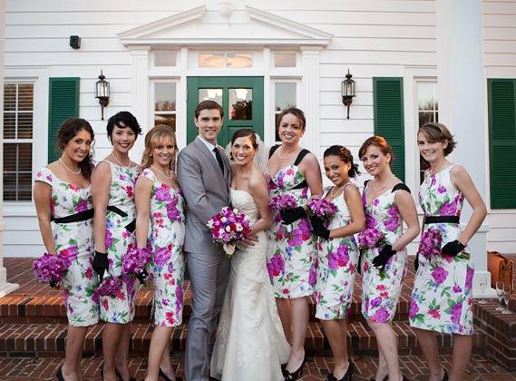 floral print junior bridesmaid dresses