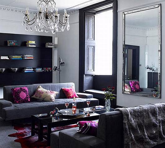 Living room design black and grey living room - Cojines para sofa gris oscuro ...