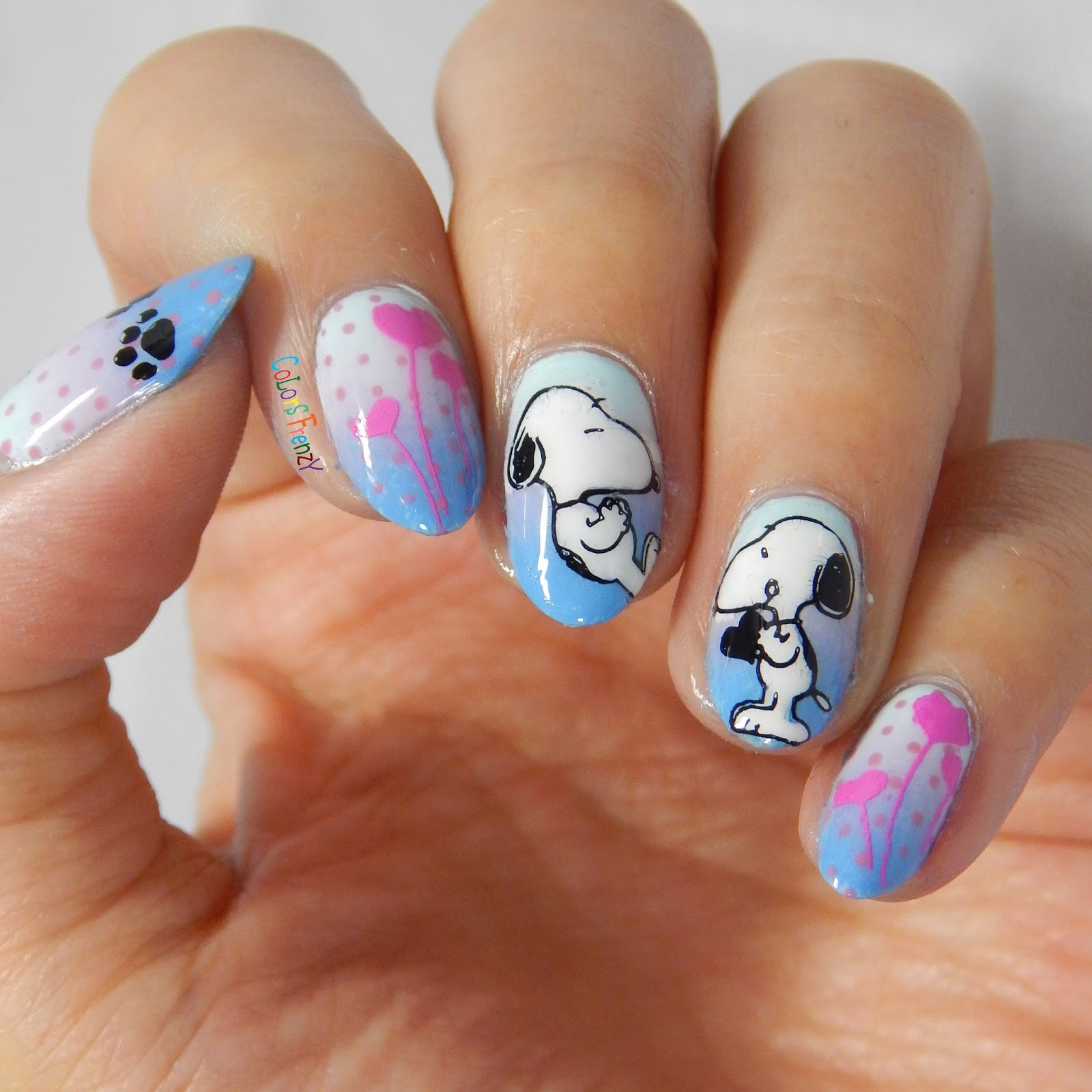 Colors frenzy born pretty store stamping plate review snoopy the background for my stamping is a gradient using picture polish sky opi rumples wiggin and orly snowcone the dots on my thumb index and pinkie are prinsesfo Choice Image