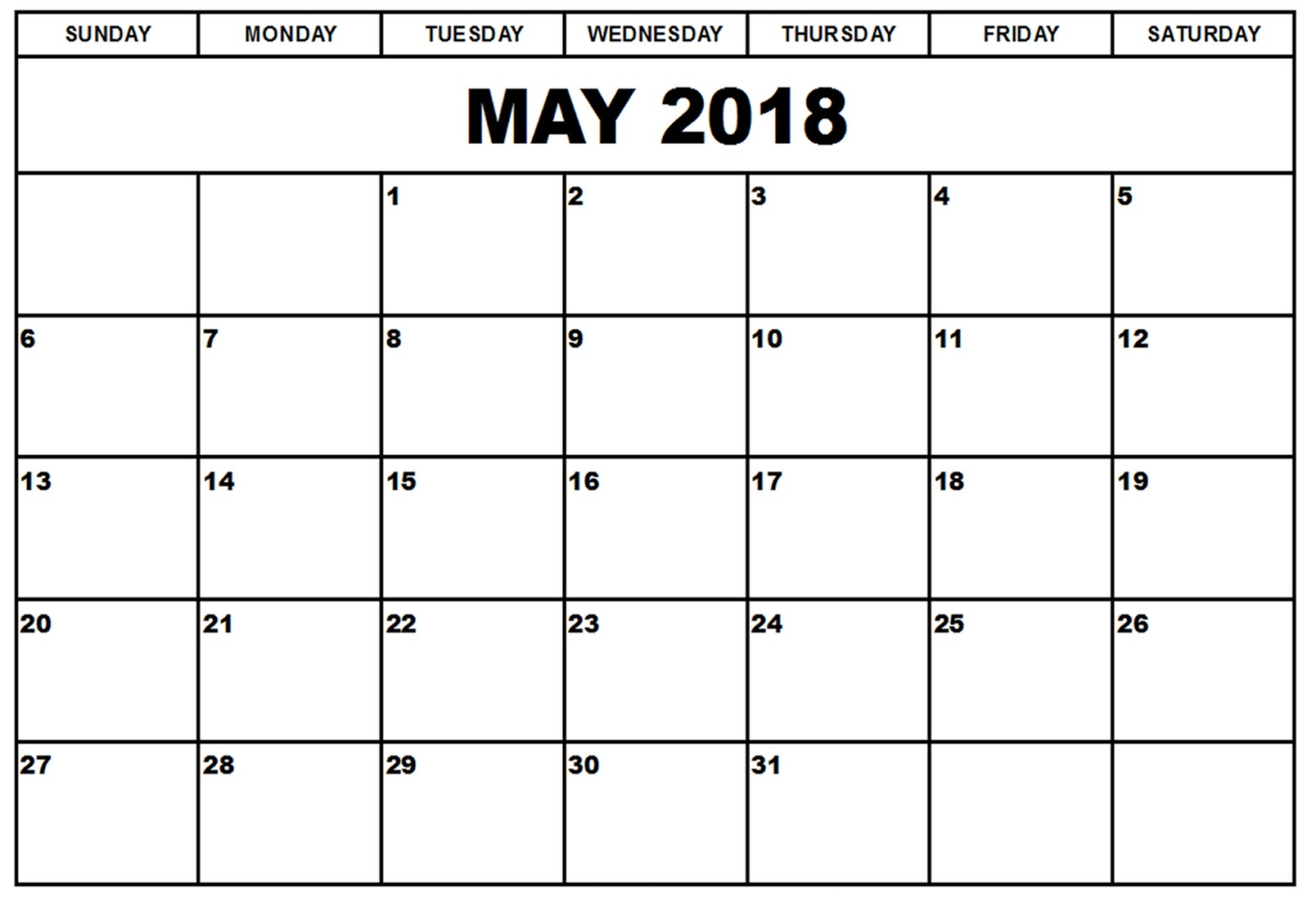 May 2018 Printable Calendar Templates