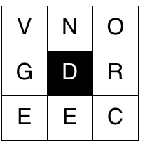 in a 3 by 3 grid of letters with between 4 and 9 letters and the word must also contain the central letter a puzzle generator is available online