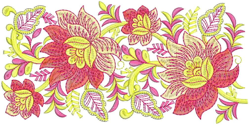 Embdesigntube Floral Embroidery Lace Border For Bridal Dresses