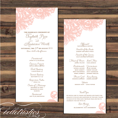 pink peony sweet romantic printable wedding diy ceremony program design