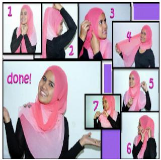 CaraMemakaiPashminaGradasiWarna Cara Memakai Jilbab Pashmina Untuk Wajah Bulat