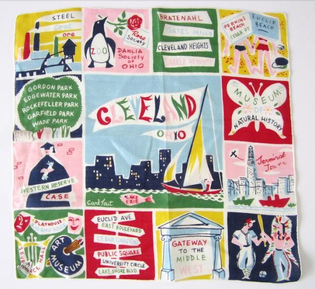 Vintage Cleveland Novelty Handkerchief #vintage #cleveland #ohio