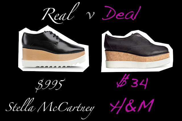 Real verses  Deal featuring Stella McCartney vegan platform shoes verses H&M vegan platform shoes