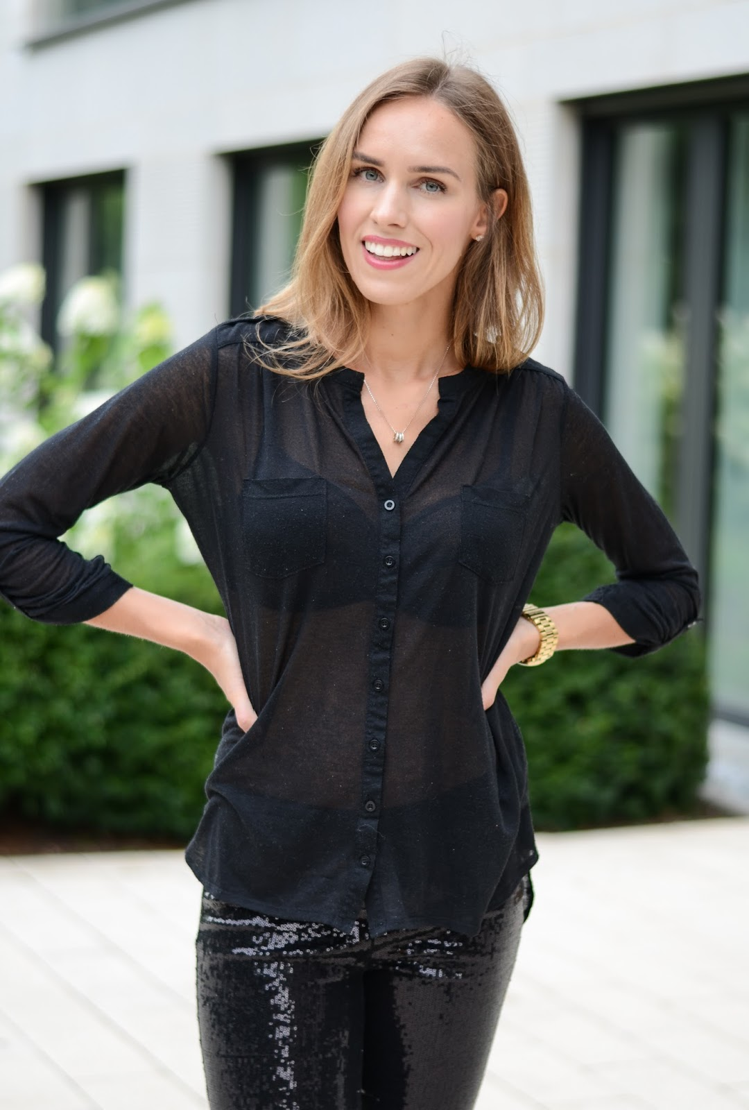 kristjaana mere black button down black long sleeve shirt