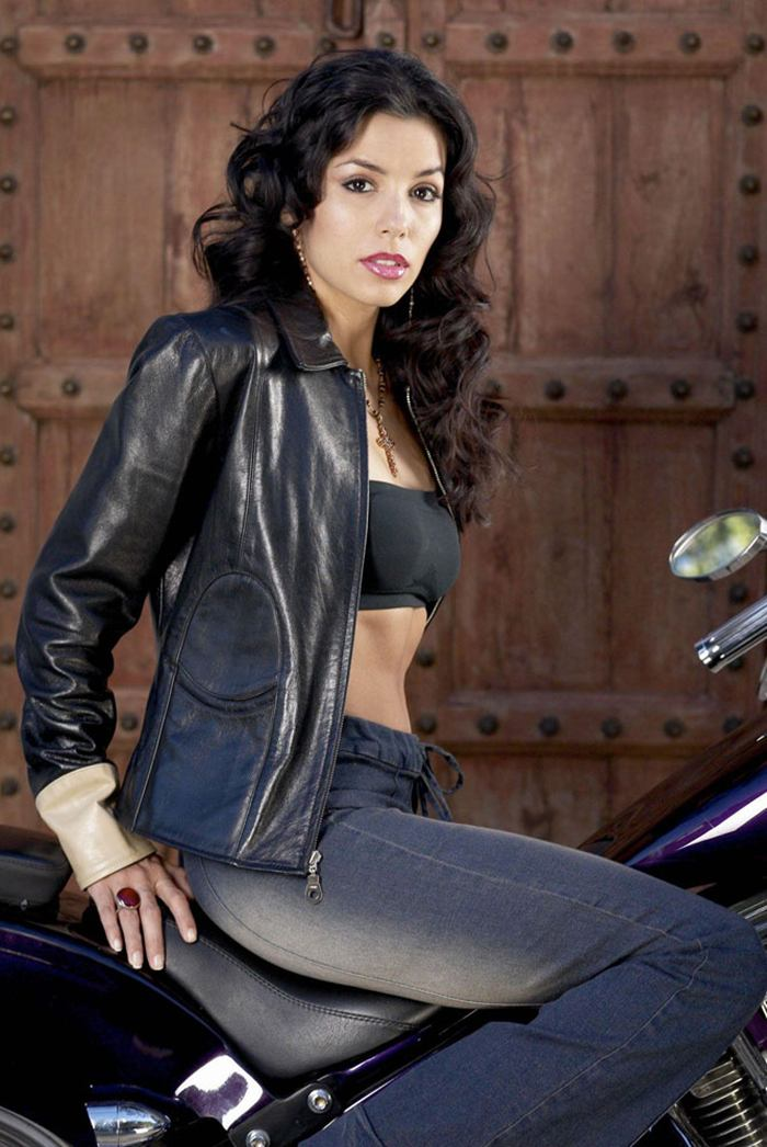 Eva Longoria leather and bike in Glen Campbell Photoshoot