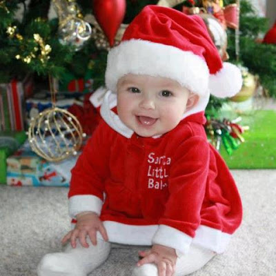 lovely baby kid in santa dress
