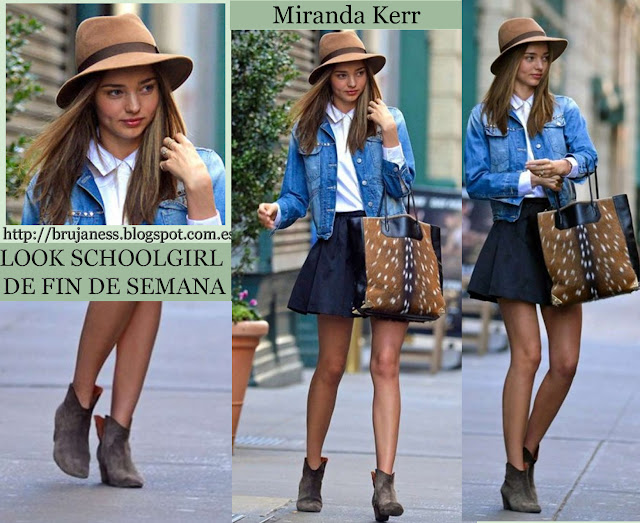 Miranda Kerr Candids in New york look what to wear que me pongo falda negra botines black skirt denim jaquet white hat fedora camisa blanca