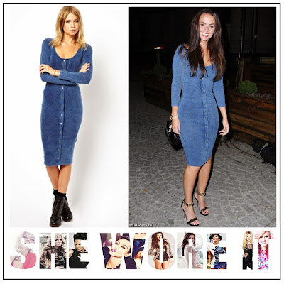 Hollyoak's, Jennifer Metcalfe, ASOS, Blue, Denim, Long Sleeve, Scoop Neck, Jersey, Bodycon, Midi Dress, Button Up Detail