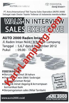 Lowongan PT Astra International Tbk (Auto2000) Lampung November 2012