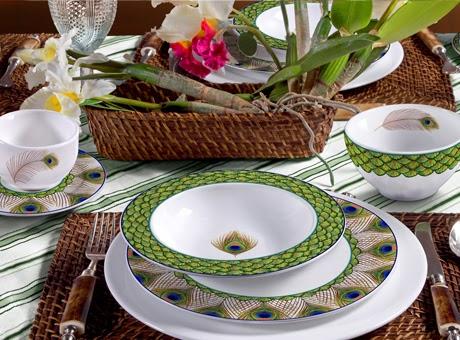 pratos estampa pavão