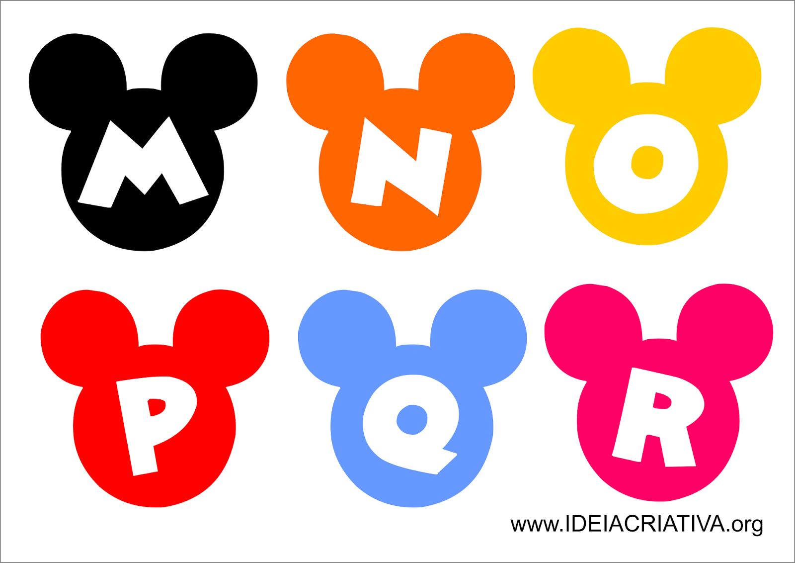 Abaixo temos o alfabeto e as imagens de Mickey e Minnie para imprimir