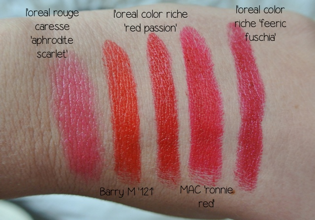 my tops 5 red lipstick swatches