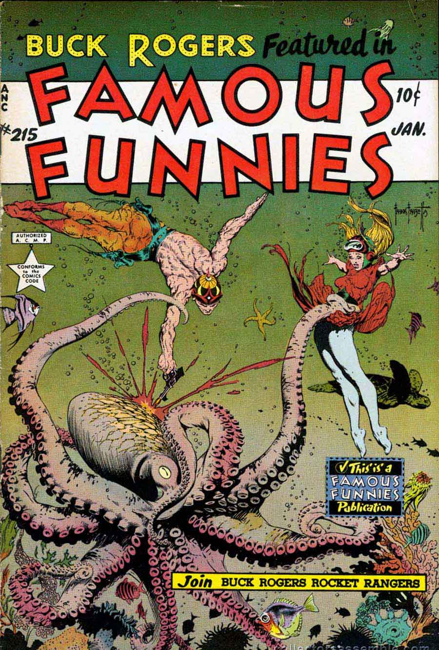 Famous Funnies 215 Frank Frazetta Cover Pencil Ink