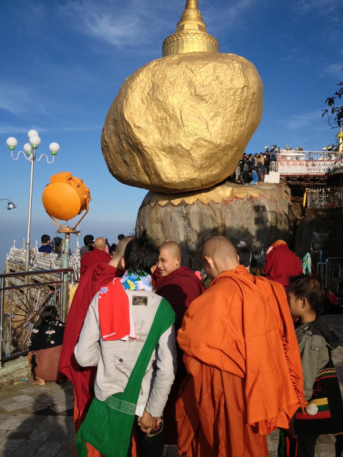 Holy Balanced Rock at Kyaiktiyo Pagoda, Burma.