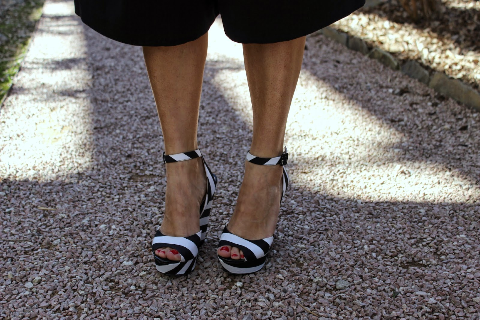 striped wedged sandals, primadonna