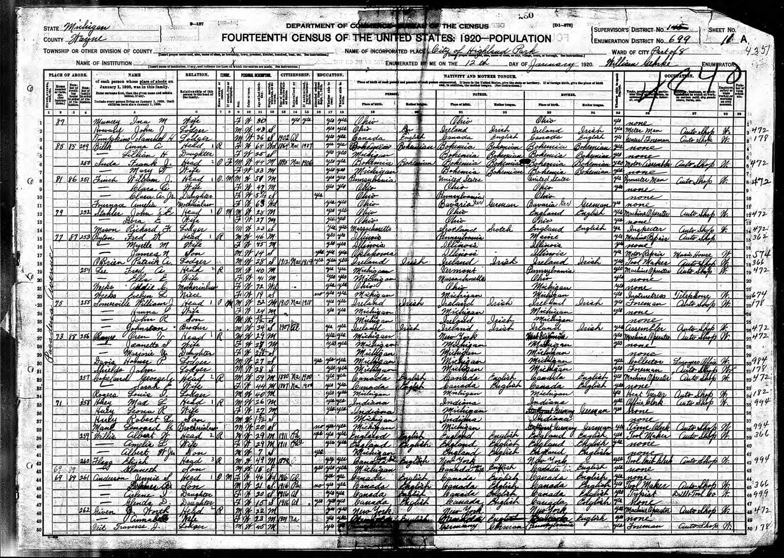 Shaky leaves harvey a huey 1866 1947 tjl genes preserving 1920 us census wayne county michigan population schedule highland park enumeration district ed ed 699 sd 145 sheet 11a 71 pasadena avenue 1betcityfo Images