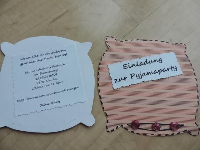 katis kreative ecke: einladungen zur Übernachtungsparty, Einladung