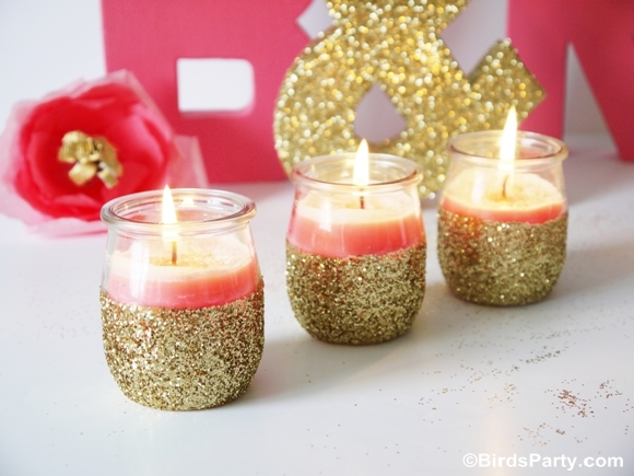 Diy pink candles and glitter candle holders party ideas for Diy candle crafts