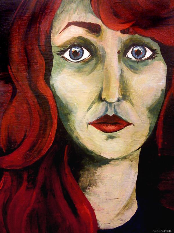 aliciasivert, alicia sivertsson, self portrait, självporträtt, mars, akryl, acryl