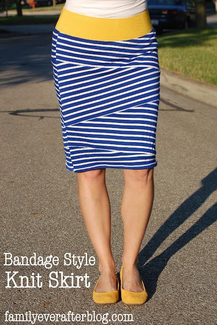 http://www.familyeverafterblog.com/2013/06/sewing-tutorial-bandage-style-knit-skirt.html