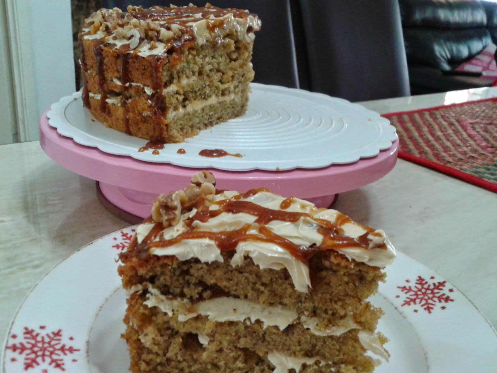 Banana Walnut with Caramel and Swiss Buttercream