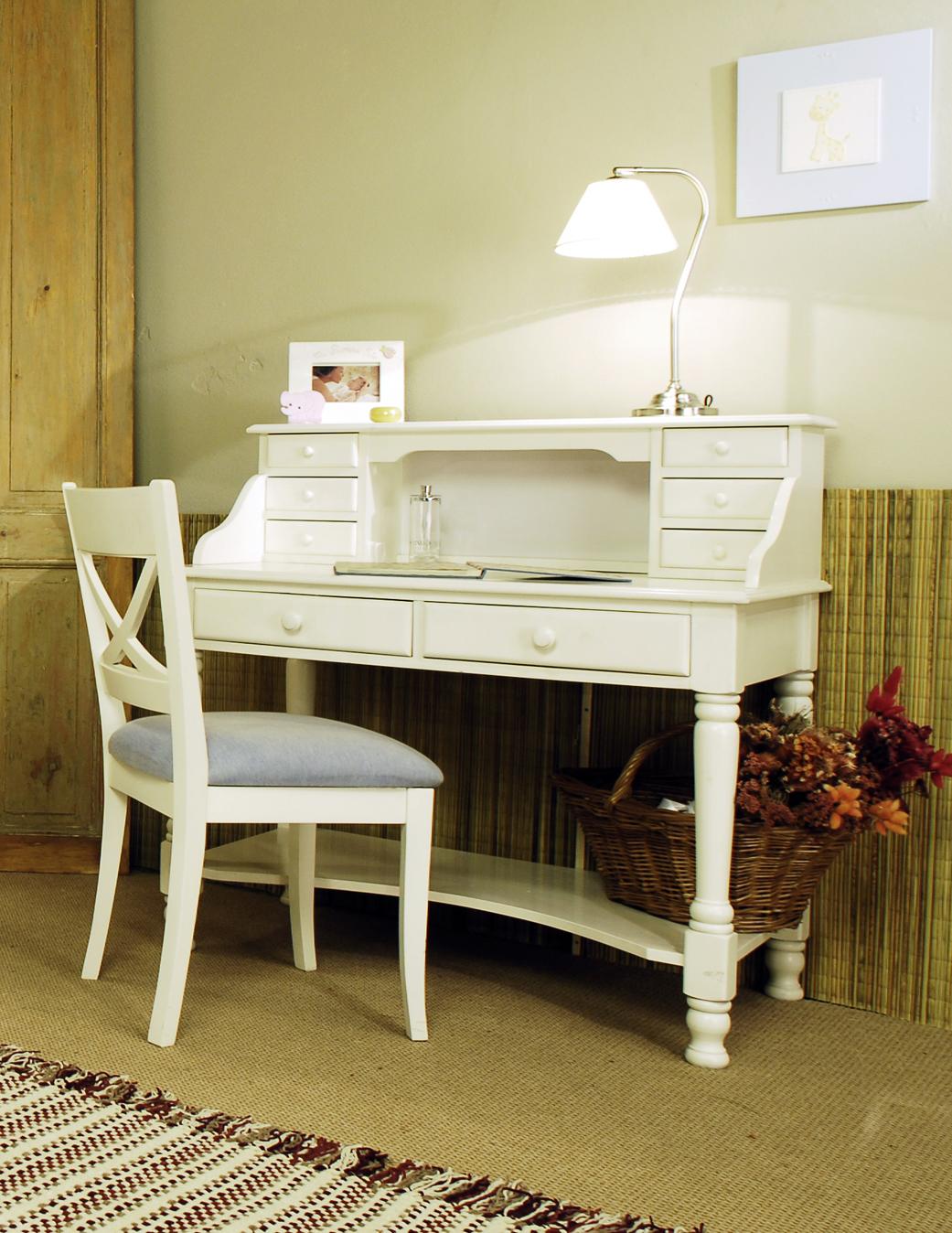 Soldi ad escritorio laqueado blanco con alzada - Escritorio blanco ...