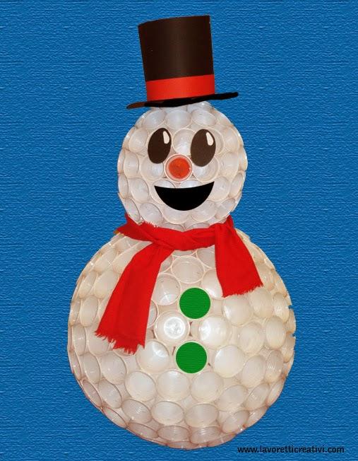 Nidomamma pupazzo di neve con bicchieri di plastica for Addobbi natalizi con bicchieri di plastica