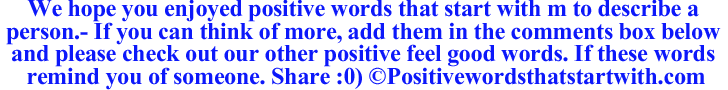 Image of Positive words that start with M to describe a person