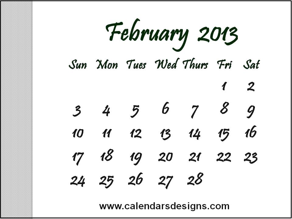 August 2013 Calendar Printable Free