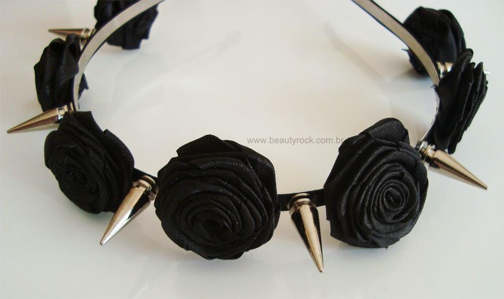 DIY: Tiara de Flores e Spikes (Black Pastel Goth Diadema)