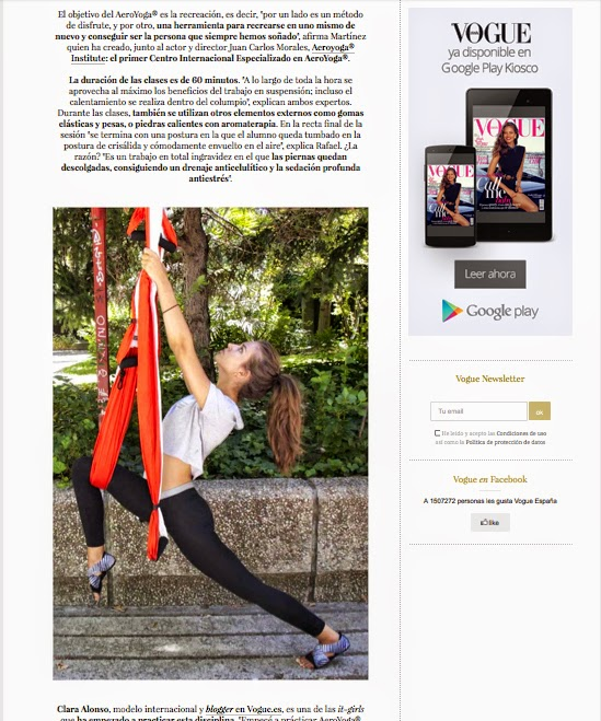 Aerial Yoga, Vogue Magazine, AeroYoga® & Clara Alonso Top
